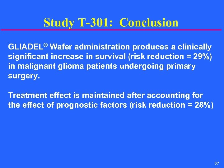 Study T-301: Conclusion GLIADEL® Wafer administration produces a clinically significant increase in survival (risk