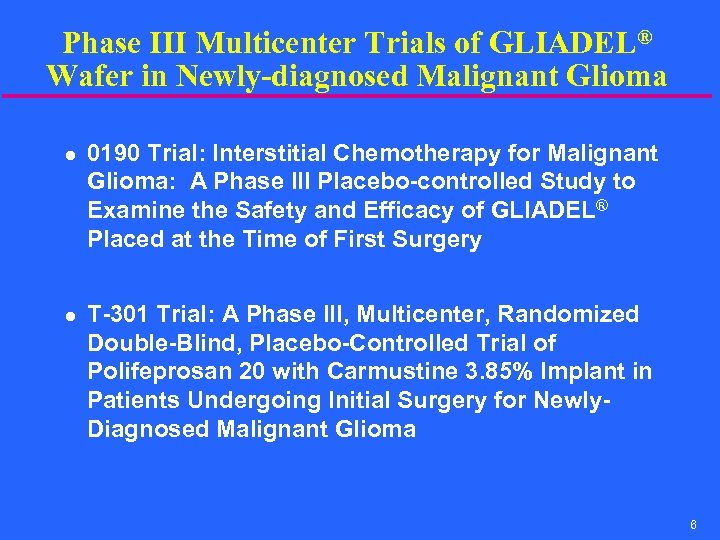 Phase III Multicenter Trials of GLIADEL® Wafer in Newly-diagnosed Malignant Glioma l l 0190