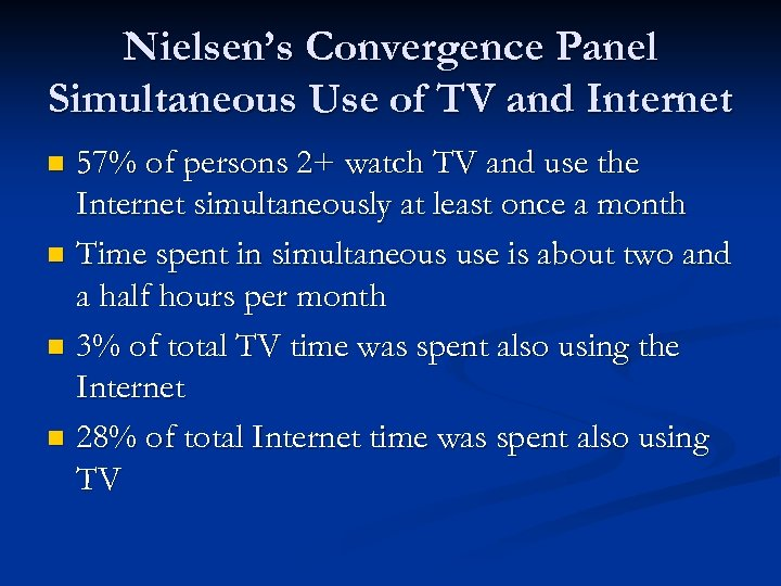 Nielsen's Convergence Panel Simultaneous Use of TV and Internet 57% of persons 2+ watch