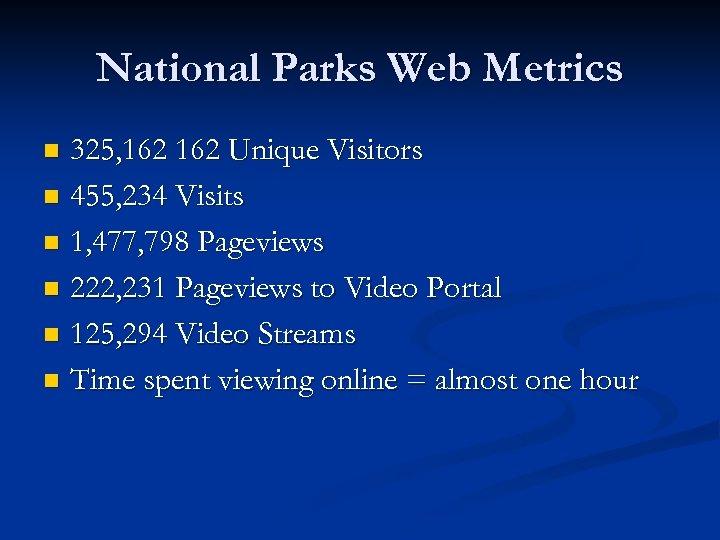 National Parks Web Metrics 325, 162 Unique Visitors n 455, 234 Visits n 1,