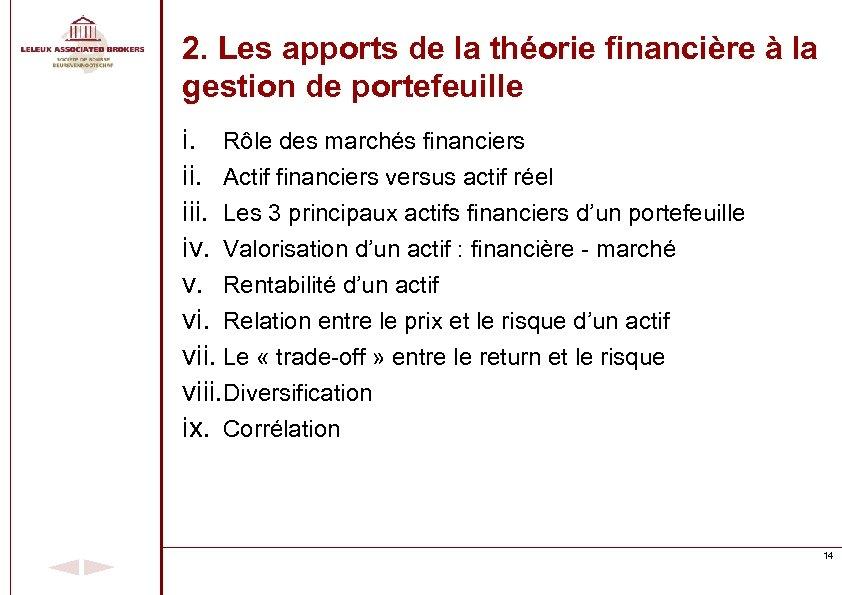 2. Les apports de la théorie financière à la gestion de portefeuille i. Rôle