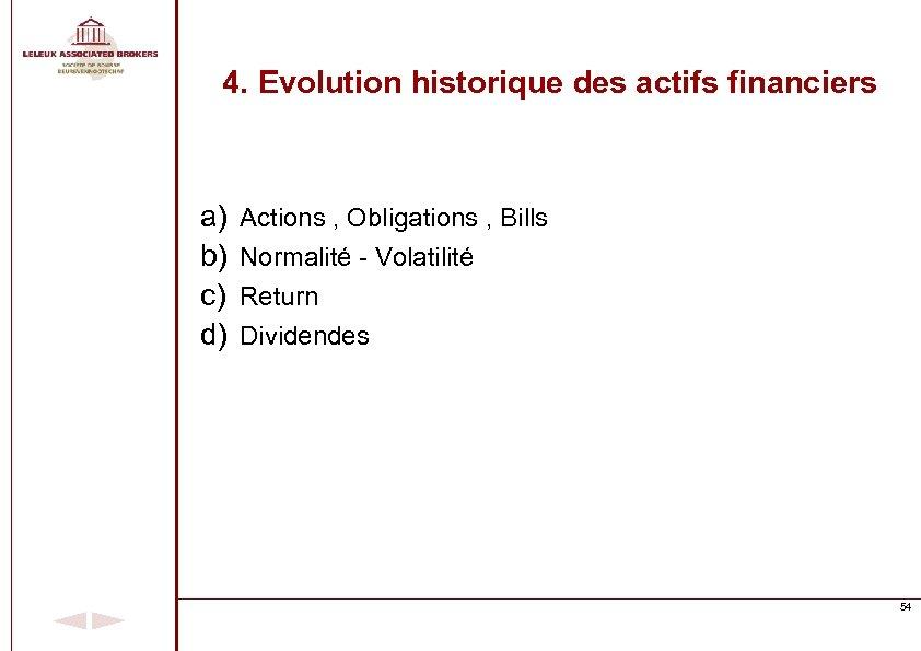 4. Evolution historique des actifs financiers a) b) c) d) Actions , Obligations ,