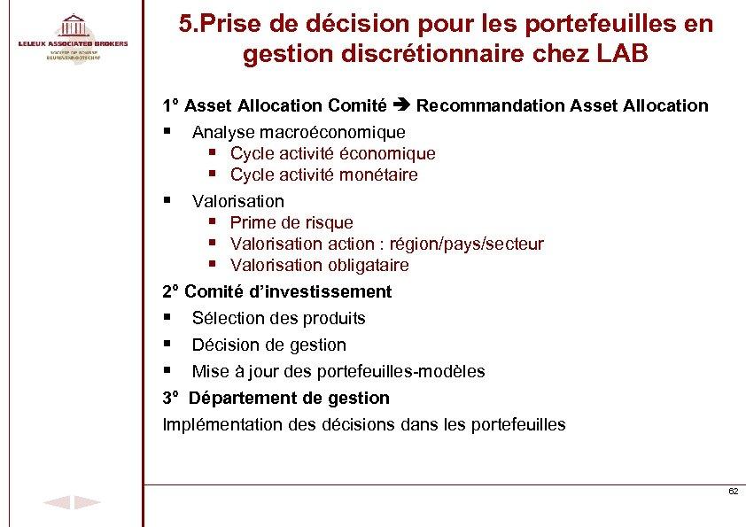 5. Prise de décision pour les portefeuilles en gestion discrétionnaire chez LAB 1° Asset