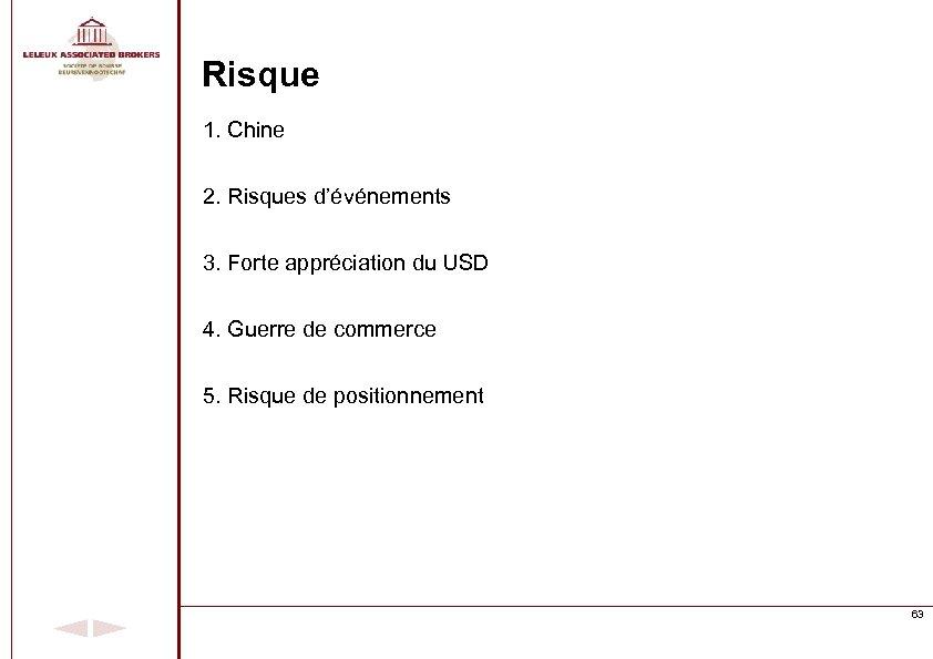 Risque 1. Chine 2. Risques d'événements 3. Forte appréciation du USD 4. Guerre de