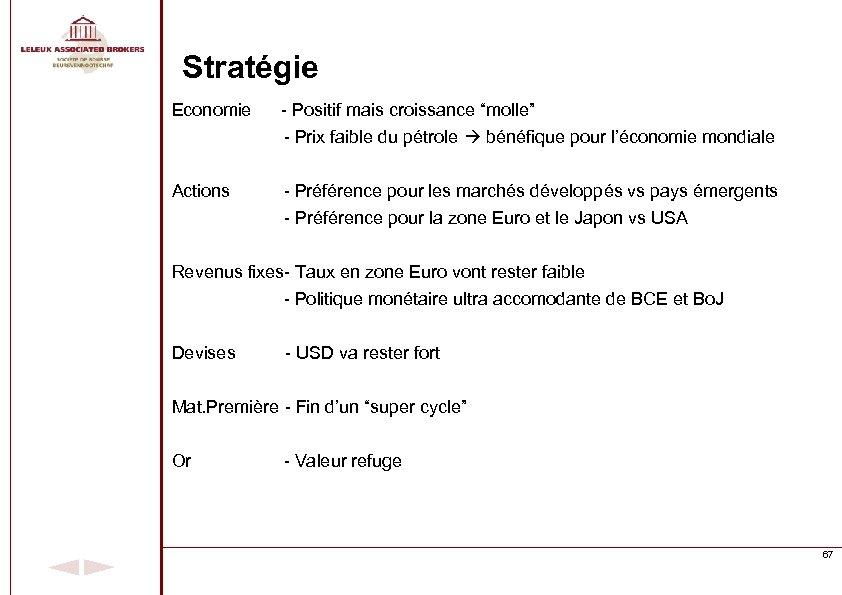 """Stratégie Economie - Positif mais croissance """"molle"""" - Prix faible du pétrole bénéfique pour"""