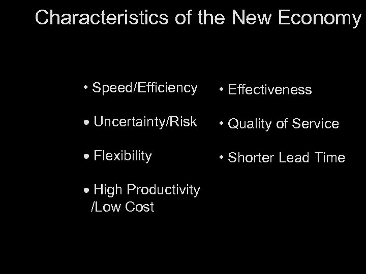 Characteristics of the New Economy • Speed/Efficiency • Effectiveness · Uncertainty/Risk • Quality of