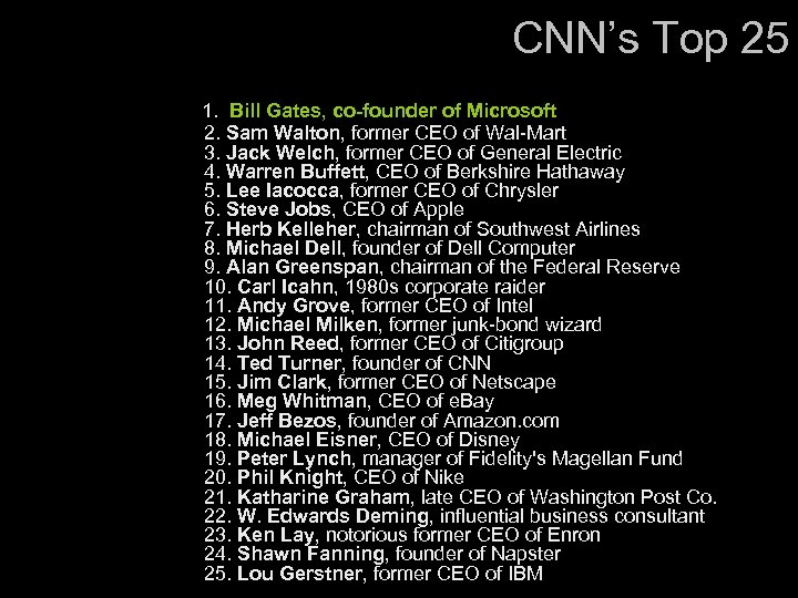 CNN's Top 25 1. Bill Gates, co-founder of Microsoft 2. Sam Walton, former CEO