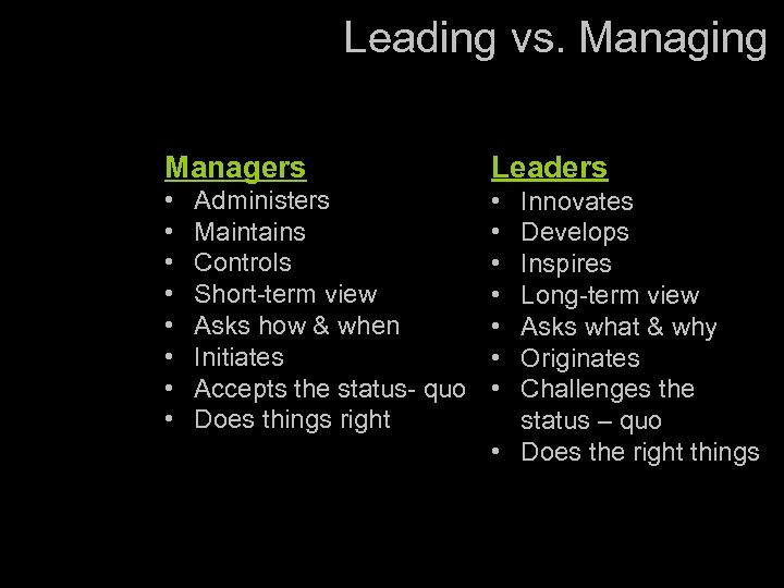 Leading vs. Managing Managers Leaders • • • • Administers Maintains Controls Short-term view