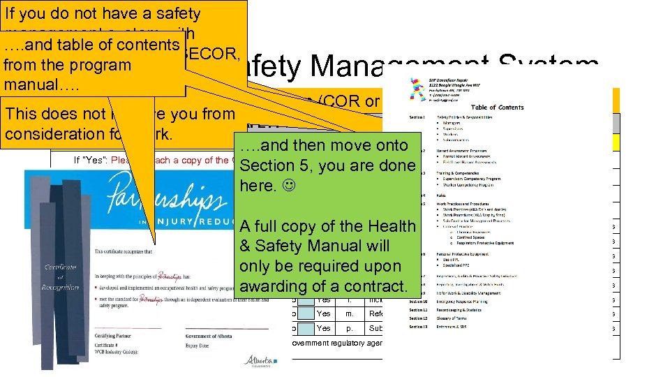 If you have a safety do not Certificate of management system and Recognition for