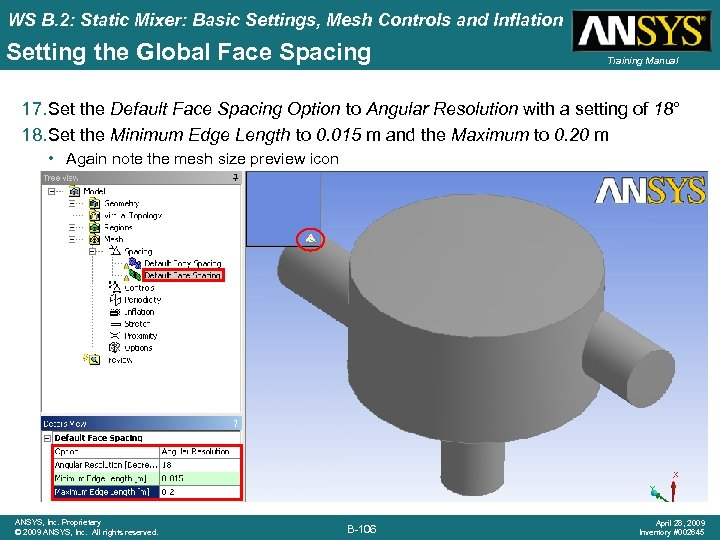 WS B. 2: Static Mixer: Basic Settings, Mesh Controls and Inflation Setting the Global