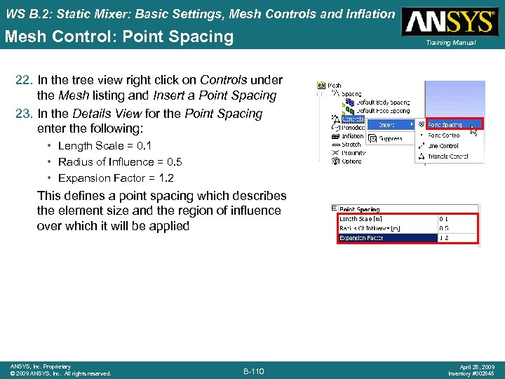 WS B. 2: Static Mixer: Basic Settings, Mesh Controls and Inflation Mesh Control: Point