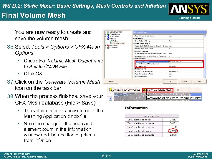 WS B. 2: Static Mixer: Basic Settings, Mesh Controls and Inflation Final Volume Mesh