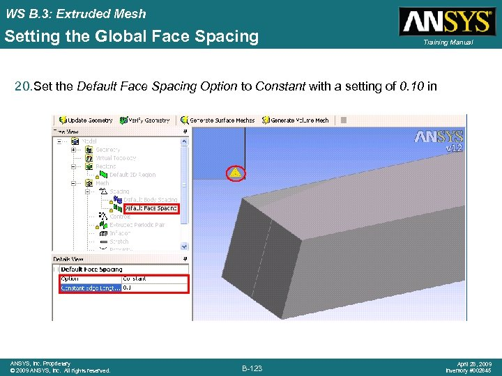 WS B. 3: Extruded Mesh Setting the Global Face Spacing Training Manual 20. Set