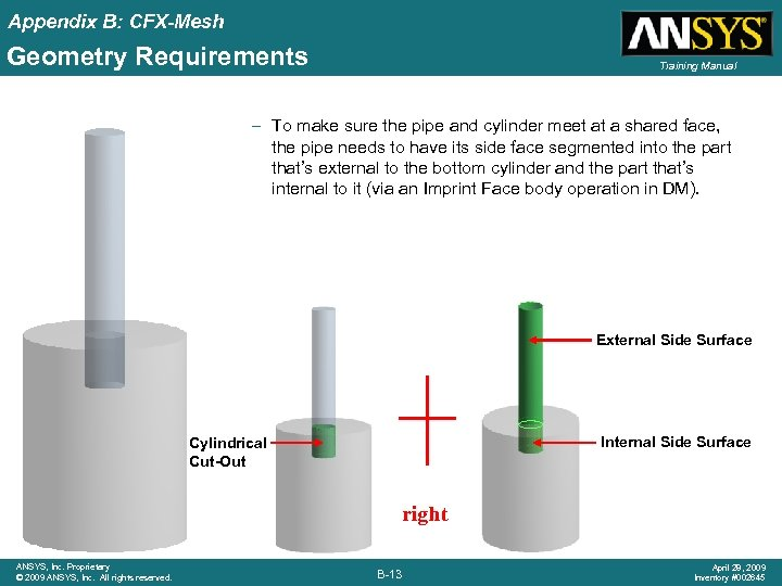 Appendix B: CFX-Mesh Geometry Requirements Training Manual – To make sure the pipe and
