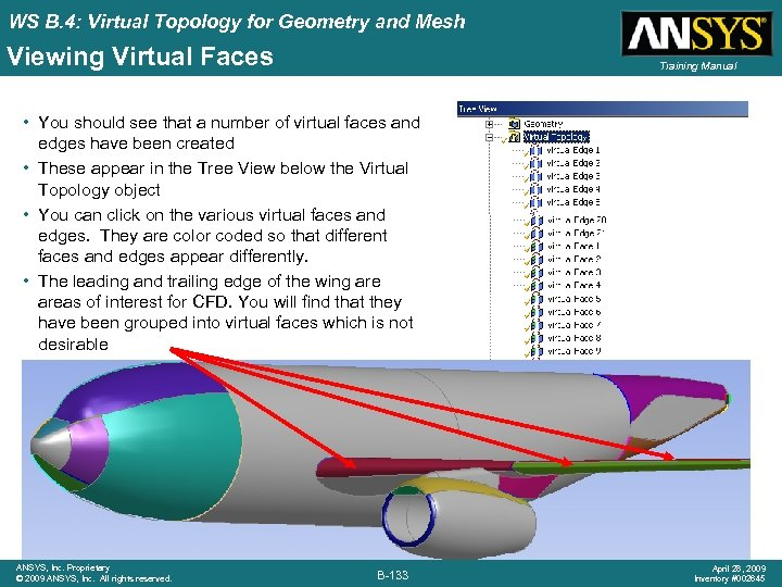 WS B. 4: Virtual Topology for Geometry and Mesh Viewing Virtual Faces Training Manual