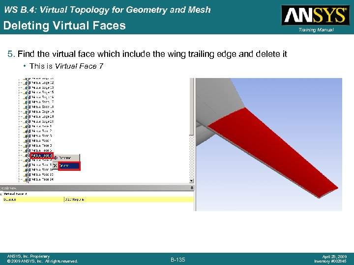 WS B. 4: Virtual Topology for Geometry and Mesh Deleting Virtual Faces Training Manual