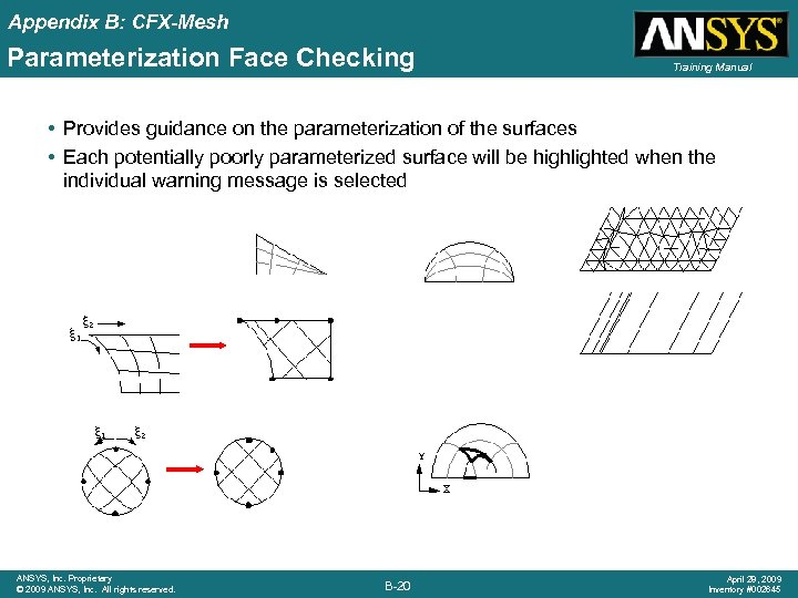 Appendix B: CFX-Mesh Parameterization Face Checking Training Manual • Provides guidance on the parameterization