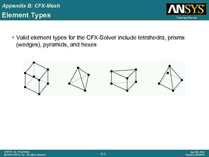 Appendix B: CFX-Mesh Element Types Training Manual • Valid element types for the CFX-Solver