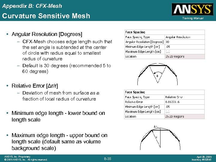 Appendix B: CFX-Mesh Curvature Sensitive Mesh Training Manual • Angular Resolution [Degrees] – CFX-Mesh