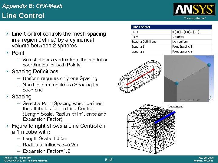 Appendix B: CFX-Mesh Line Control Training Manual • Line Control controls the mesh spacing