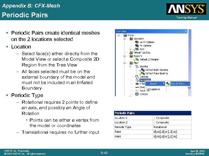 Appendix B: CFX-Mesh Periodic Pairs Training Manual • Periodic Pairs create identical meshes on