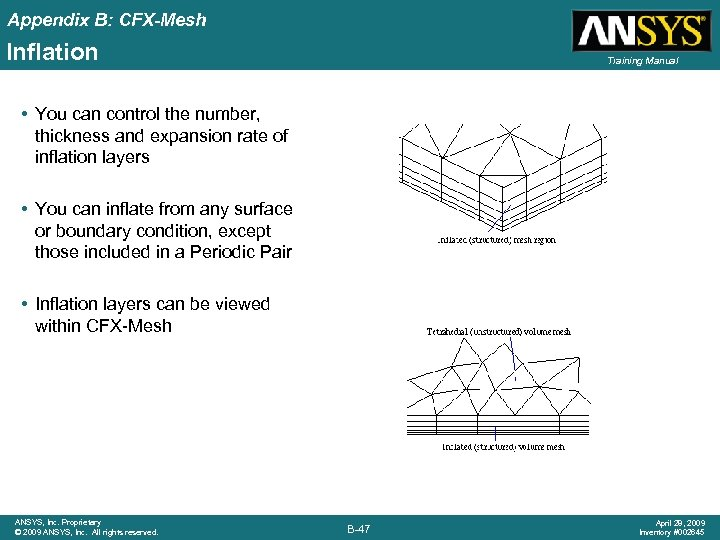 Appendix B: CFX-Mesh Inflation Training Manual • You can control the number, thickness and