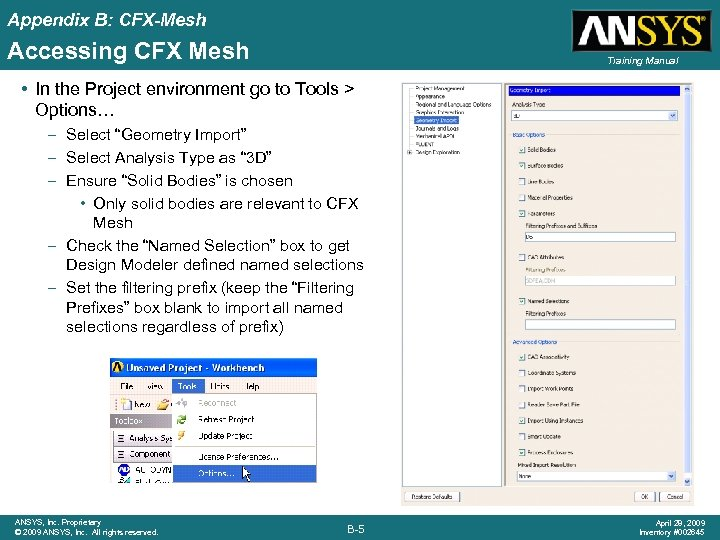 Appendix B: CFX-Mesh Accessing CFX Mesh Training Manual • In the Project environment go