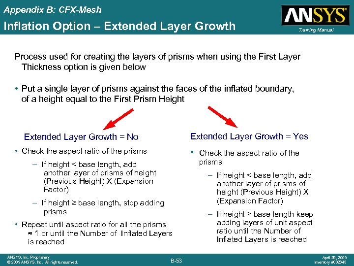 Appendix B: CFX-Mesh Inflation Option – Extended Layer Growth Training Manual Process used for