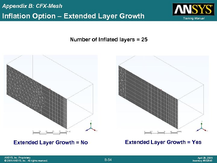 Appendix B: CFX-Mesh Inflation Option – Extended Layer Growth Training Manual Number of Inflated
