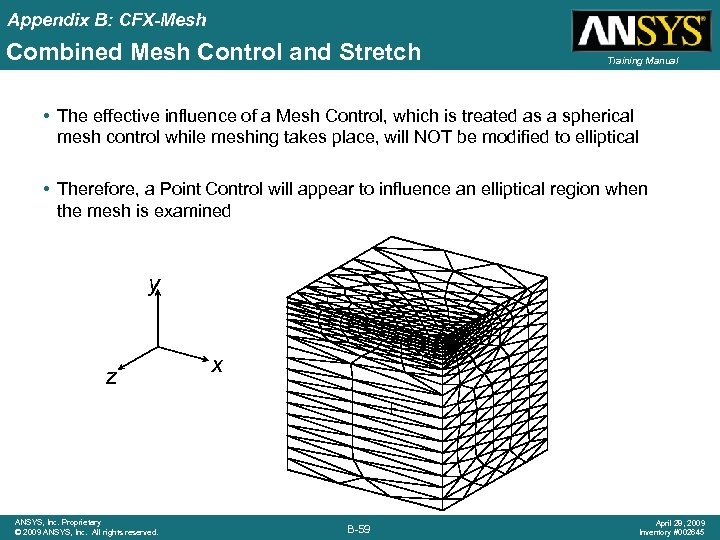 Appendix B: CFX-Mesh Combined Mesh Control and Stretch Training Manual • The effective influence