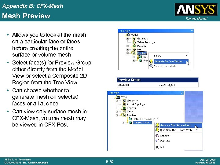 Appendix B: CFX-Mesh Preview Training Manual • Allows you to look at the mesh