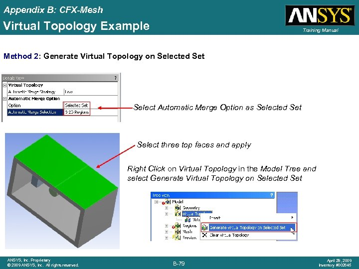 Appendix B: CFX-Mesh Virtual Topology Example Training Manual Method 2: Generate Virtual Topology on