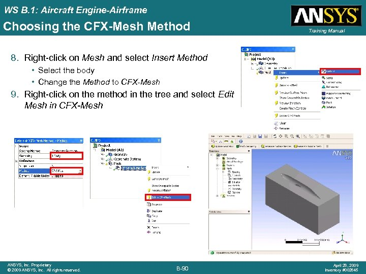 WS B. 1: Aircraft Engine-Airframe Choosing the CFX-Mesh Method Training Manual 8. Right-click on