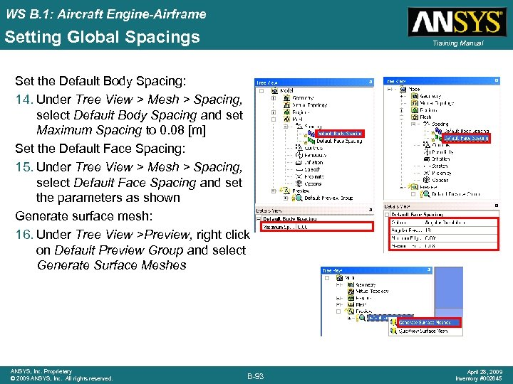 WS B. 1: Aircraft Engine-Airframe Setting Global Spacings Training Manual Set the Default Body