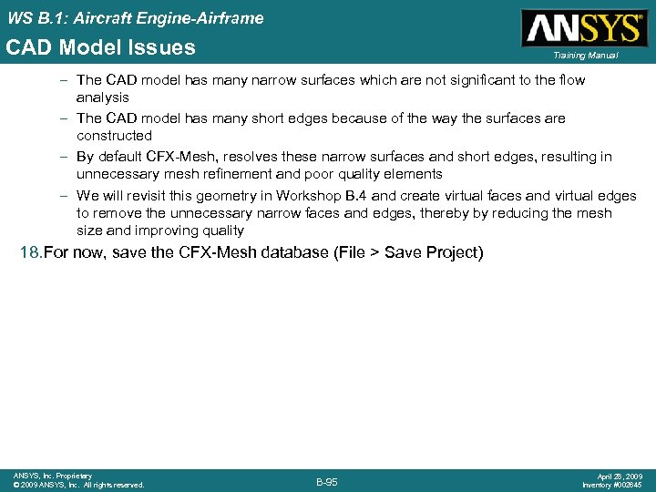 WS B. 1: Aircraft Engine-Airframe CAD Model Issues Training Manual – The CAD model