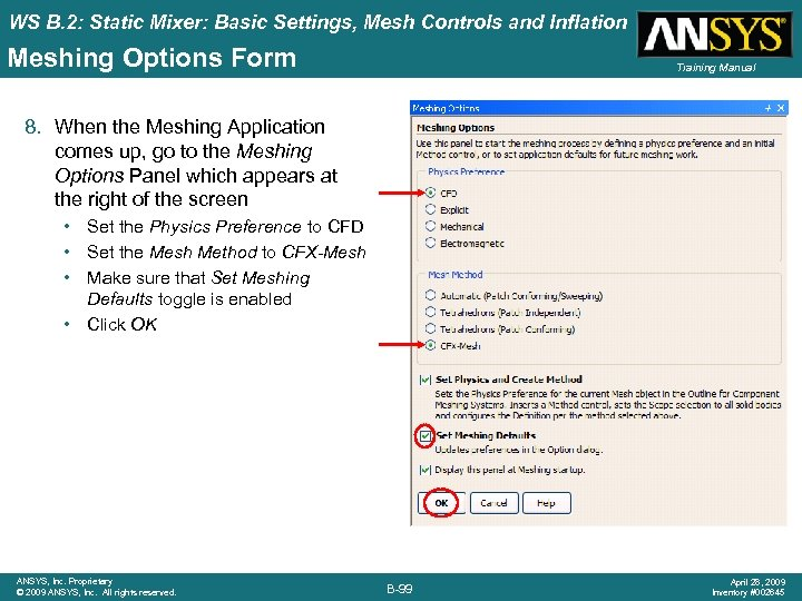 WS B. 2: Static Mixer: Basic Settings, Mesh Controls and Inflation Meshing Options Form