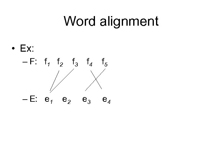 Word alignment • Ex: – F: f 1 f 2 – E: e 1