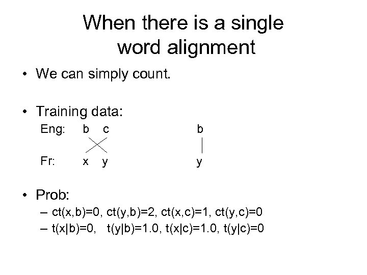When there is a single word alignment • We can simply count. • Training