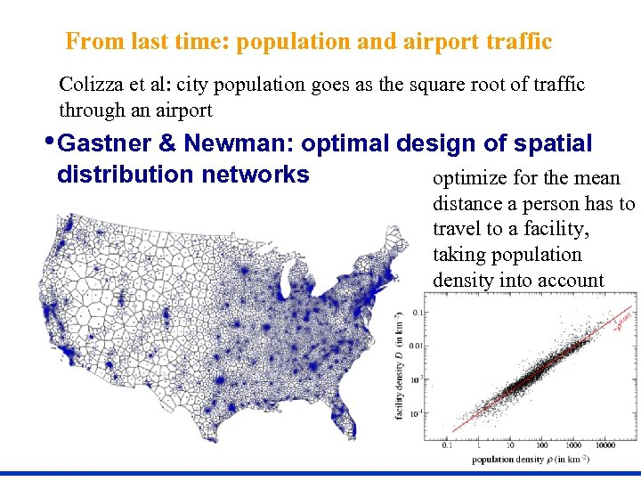 From last time: population and airport traffic Colizza et al: city population goes as