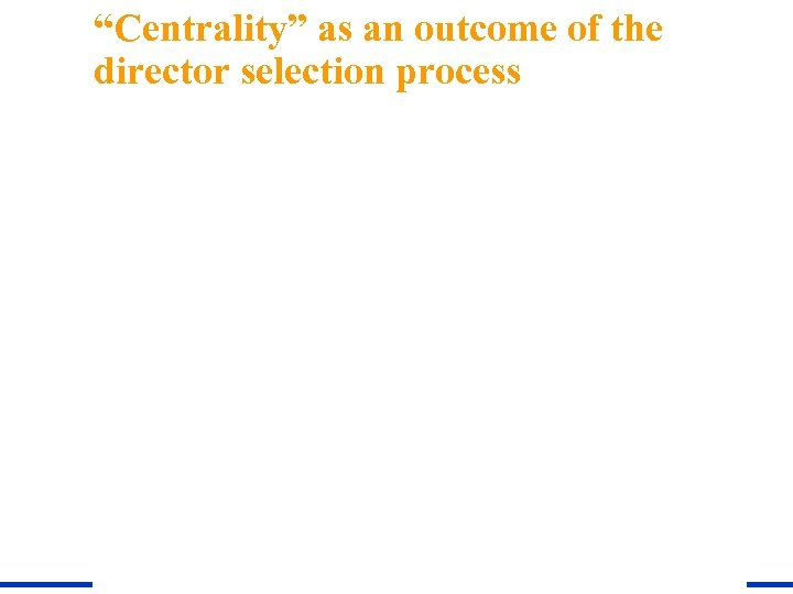 """""""Centrality"""" as an outcome of the director selection process"""