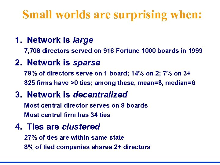 Small worlds are surprising when: 1. Network is large 7, 708 directors served on