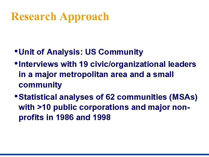 Research Approach • Unit of Analysis: US Community • Interviews with 19 civic/organizational leaders