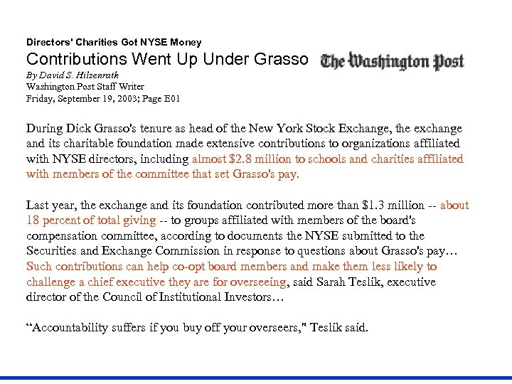 Directors' Charities Got NYSE Money Contributions Went Up Under Grasso By David S. Hilzenrath