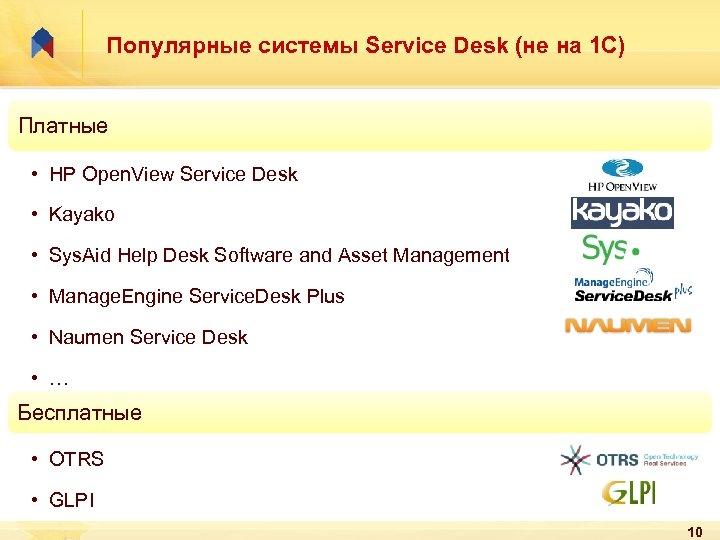 Популярные системы Service Desk (не на 1 С) Платные • HP Open. View Service