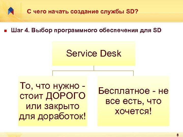 С чего начать создание службы SD? n Шаг 4. Выбор программного обеcпечения для SD