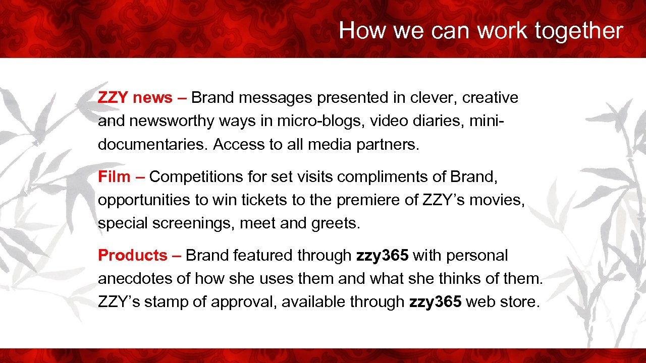 How we can work together ZZY news – Brand messages presented in clever, creative