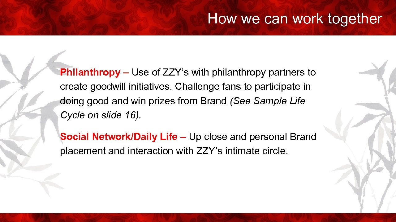 How we can work together Philanthropy – Use of ZZY's with philanthropy partners to