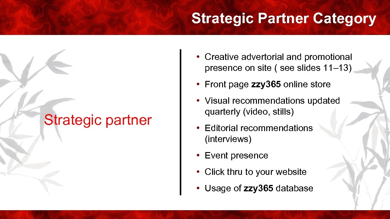 Strategic Partner Category • Creative advertorial and promotional presence on site ( see slides