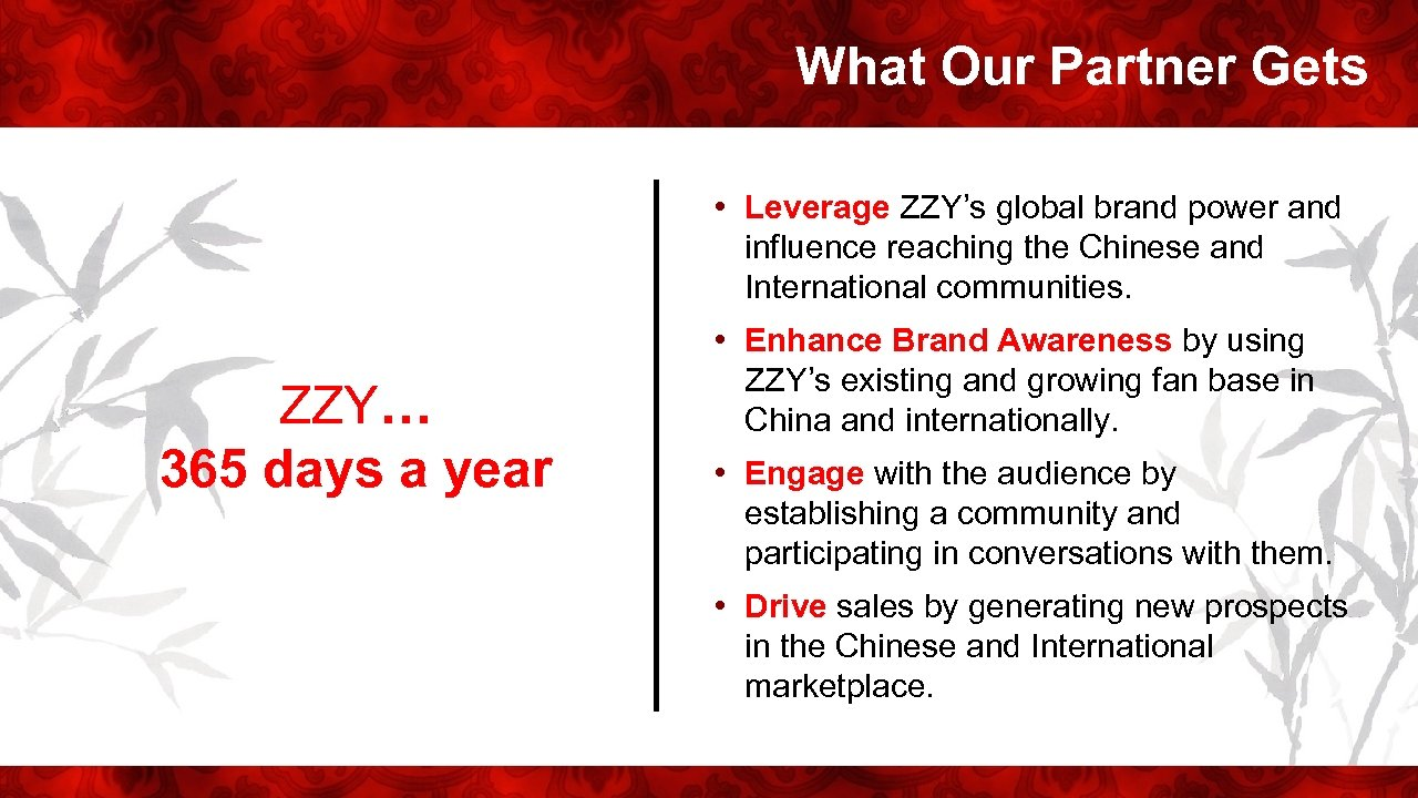 What Our Partner Gets • Leverage ZZY's global brand power and influence reaching the