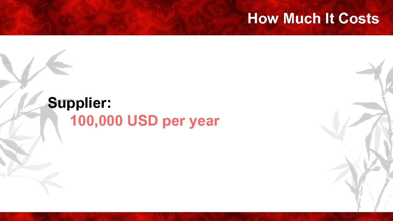 How Much It Costs Supplier: 100, 000 USD per year